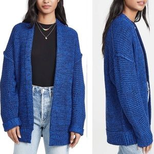 Free People Women's High Hopes Open Front Cardigan Sweater in Blue